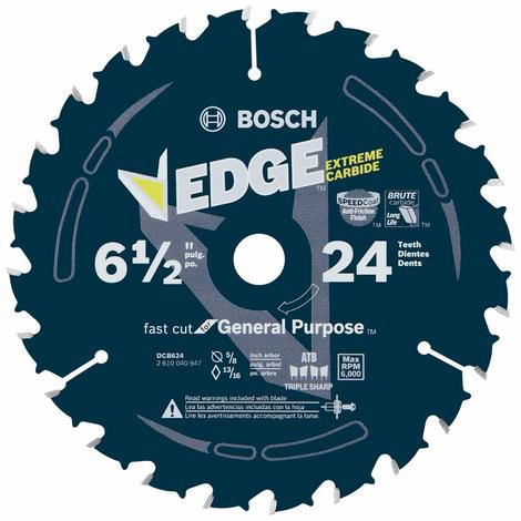 Bosch 6-1/2 In. 24 Tooth Edge Circular Saw Blade for General Purpose