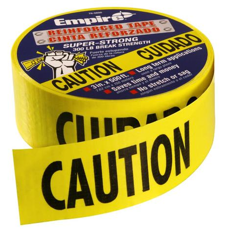 500 ft. Reinforced Yellow Barricade Tape - CAUTION/CUIDADO